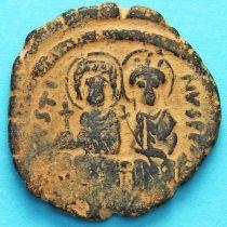 Византия фоллис Юстин II 565-578 год. Юстин и София.