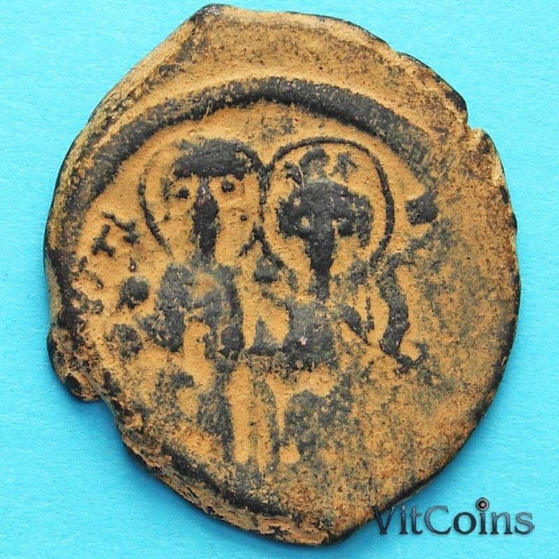 Монета Византия фоллис Юстин II 565-578 год. Юстин и София. №2