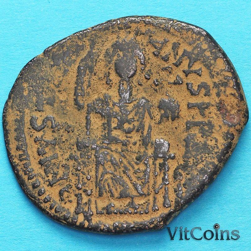Византия 40 нуммий Юстиниан I 527-565 год. Император на троне.