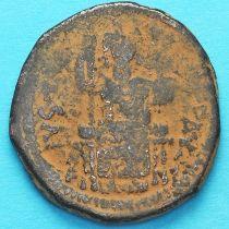 Византия 40 нуммий Юстиниан I 527-565 год. Император на троне. №2