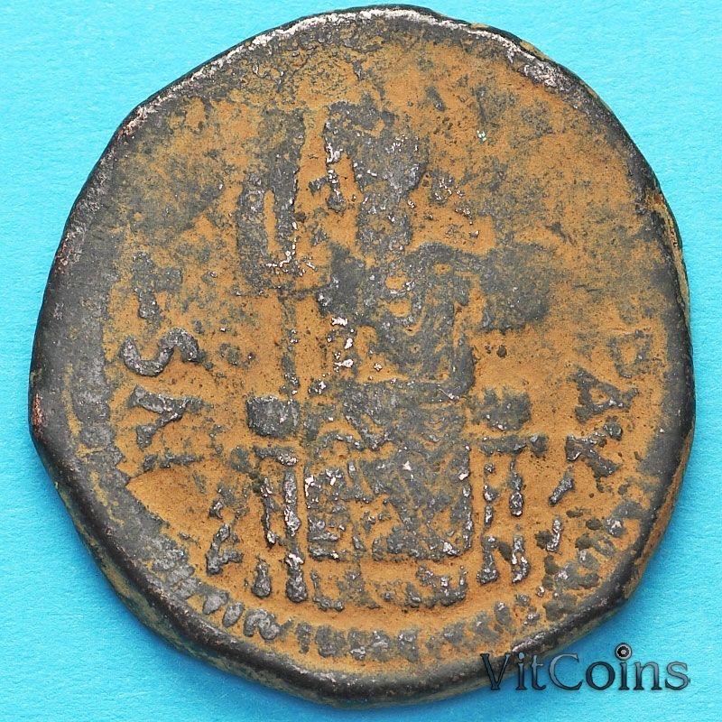 Византия 40 нуммий Юстиниан I 527-565 год. Император на троне.№2