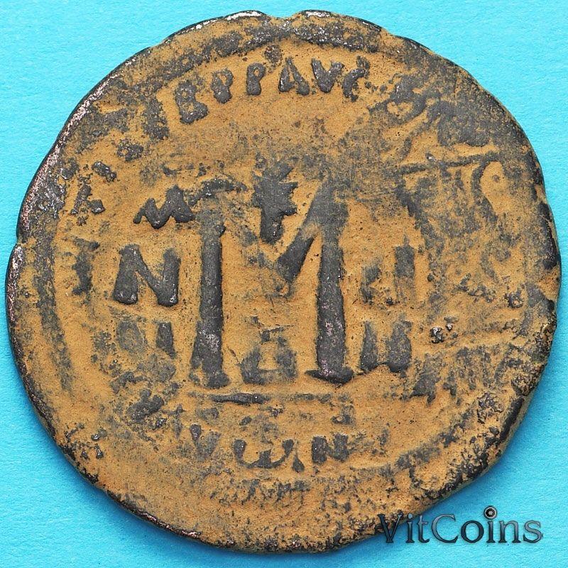 Византия 40 нуммий Ираклий и Ираклий Константин 610-641 год. Перечекан по фоллису Маврикия.