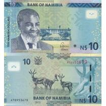 Намибия 10 долларов 2015 год.