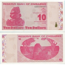 Зимбабве 10 долларов 2009 год.