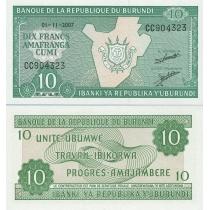 Бурунди 10 франков 2007 год.