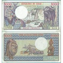 """Центральная Африка 1000 франков 1980 год. Чад. В конверте """"Banknotes of all Nations"""" с маркой."""