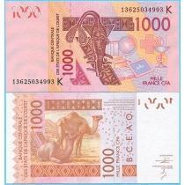 Западная Африка 1000 франков 2014 год. Сенегал