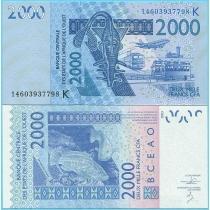 Западная Африка 2000 франков 2013 год. Сенегал