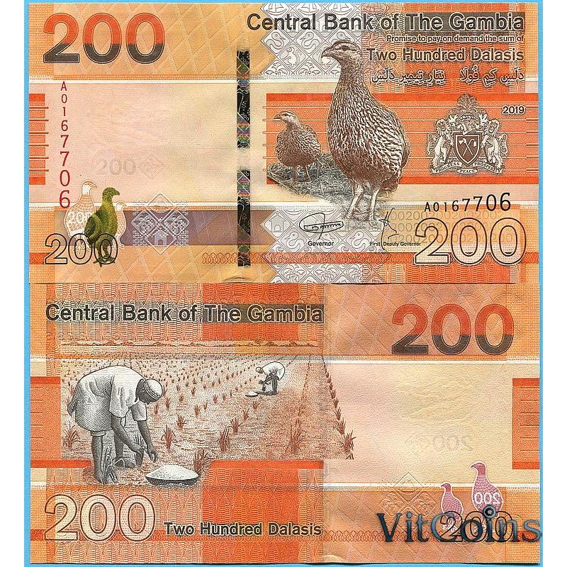 Банкнота Гамбия 200 даласи 2019 год.