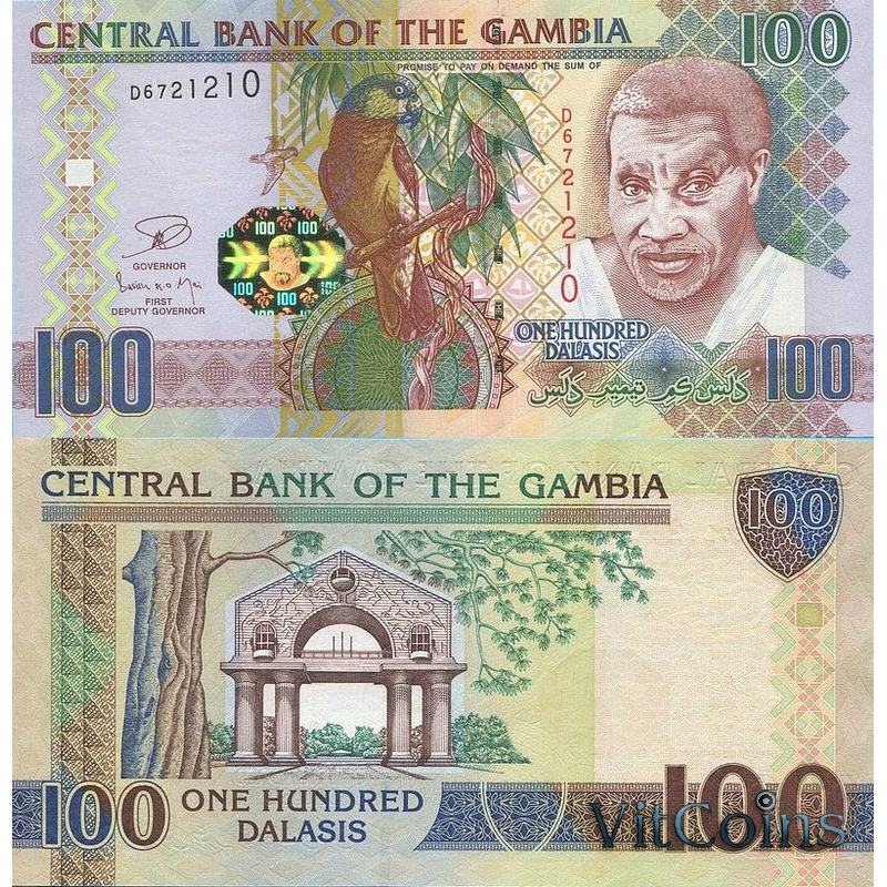 Гамбия банкнота 100 даласи 2013 г.