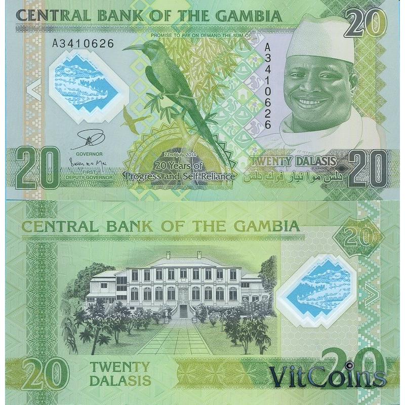 Банкнота Гамбии 20 даласи 2014 год.