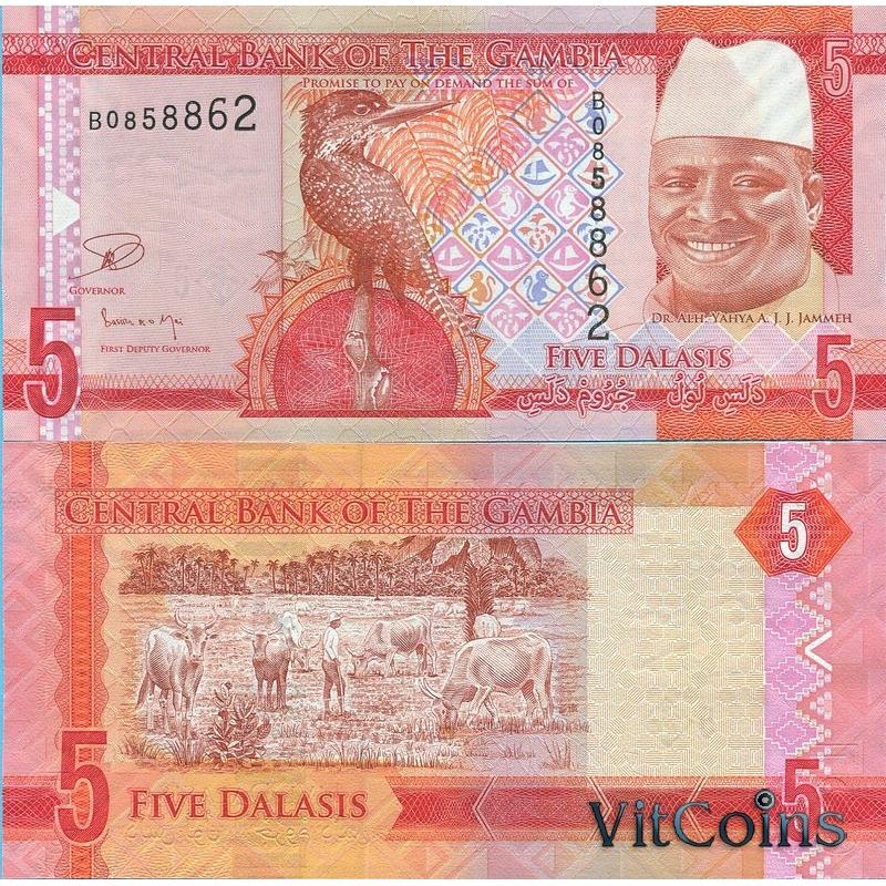 Банкнота Гамбии 5 даласи 2015 год.