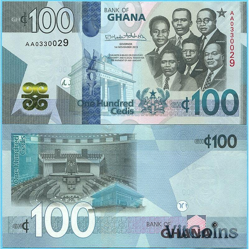 Банкнота Гана 100 седи 2019 год.