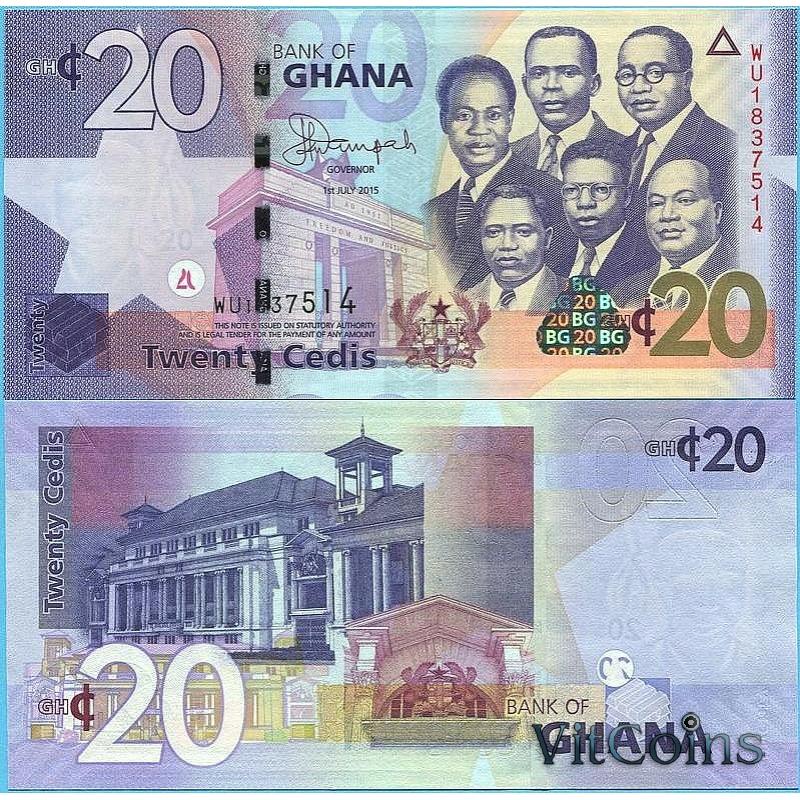 Банкнота Гана 20 седи 2015 год.