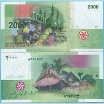 Коморские острова 2000 франков 2005 год.