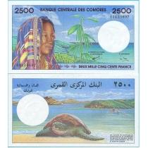 Коморские острова 2500 франков 1997 год.