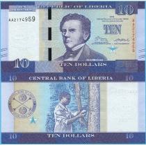 Либерия 10 долларов 2016 год.