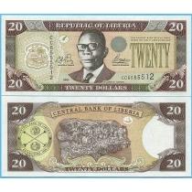 Либерия 20 долларов 2003 год.