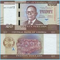 Либерия 20 долларов 2016 год.