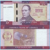 Либерия 5 долларов 2016 год.