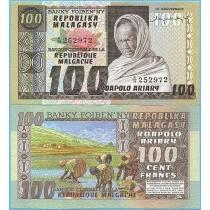 Мадагаскар 100 франков 1974 год.