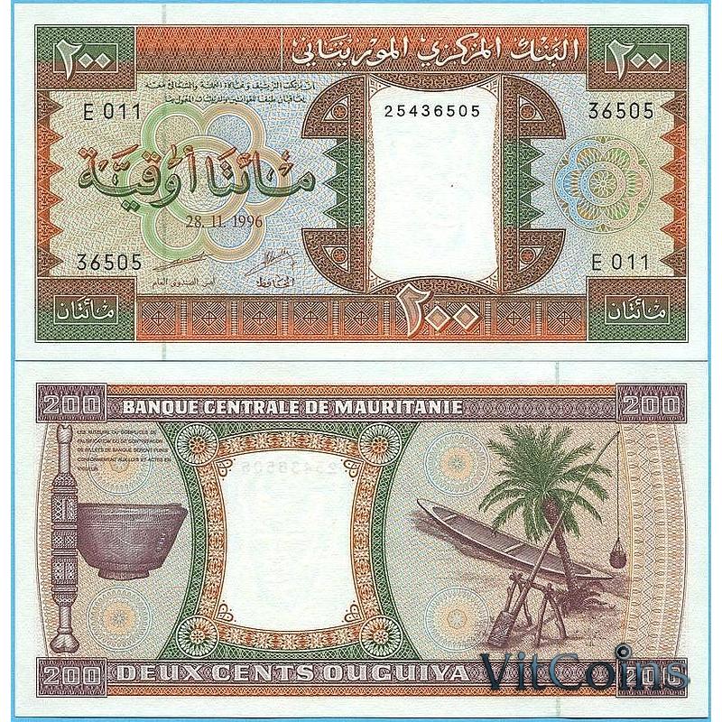 Банкнота Мавритания 200 угий 1996 год.