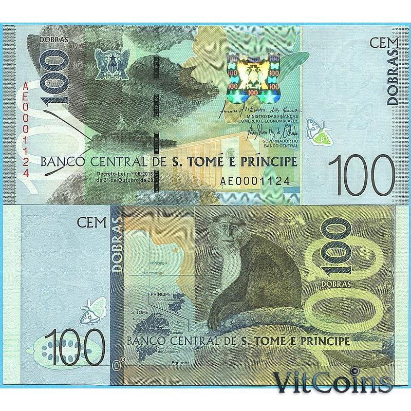 Банкнота Сан Томе и Принсипи 100 добра 2016 год.