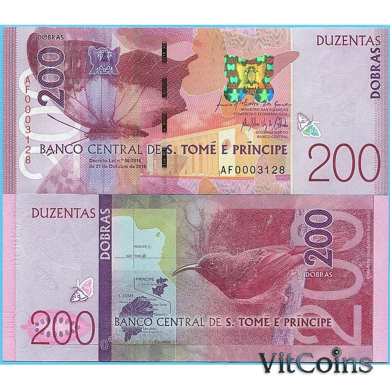 Банкнота Сан Томе и Принсипи 200 добра 2016 год.