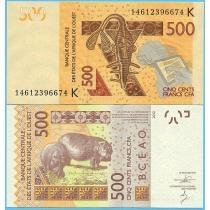 Западная Африка 500 франков 2014 год. Сенегал