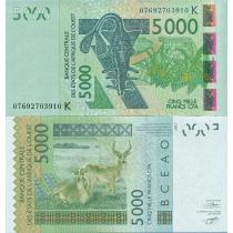 Западная Африка 5000 франков 2007 год. Сенегал