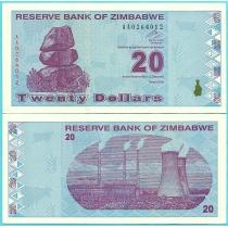 Зимбабве 20 долларов 2009 год.