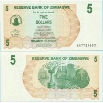 Зимбабве 5 долларов 2006 год.