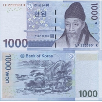 Южная Корея 1000 вон 2007 г.