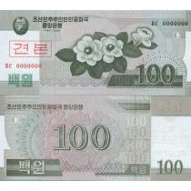 Северная Корея 100 вон 2008 год. Образец