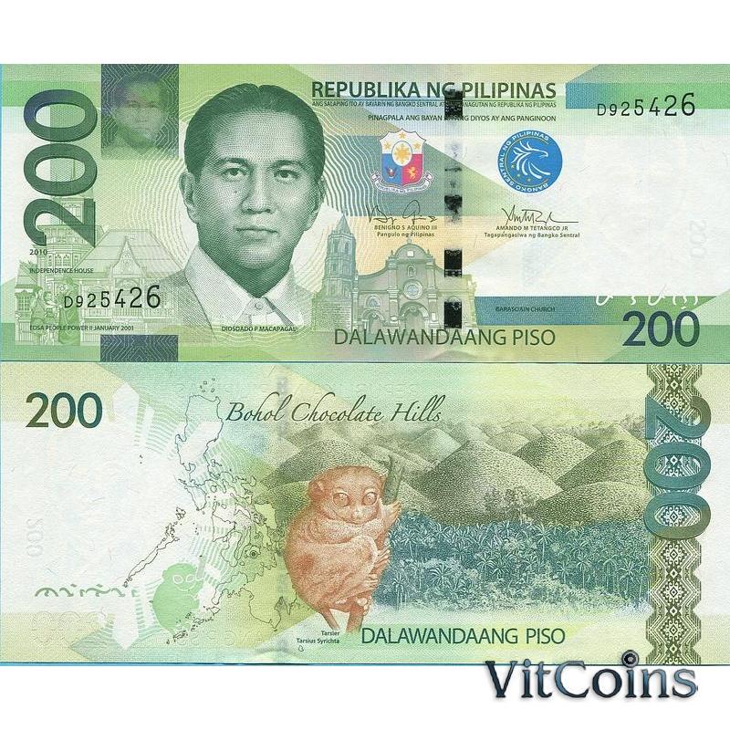 Банкнота Филиппины 200 песо 2010 год.