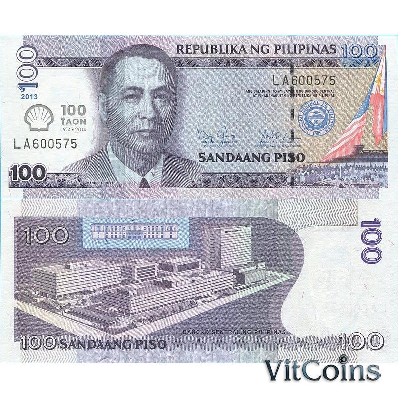 Банкнота Филиппины 100 песо 2013 г. 100 лет открытия компании Шелл на Филиппинах