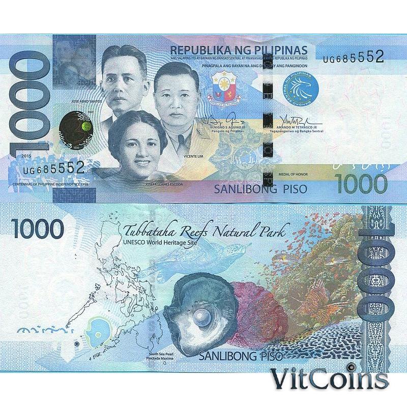 Банкнота Филиппины 1000 песо 2015 год.