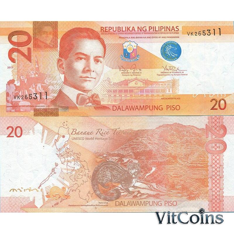 Банкнота 20 песо 2013 г. Филиппины