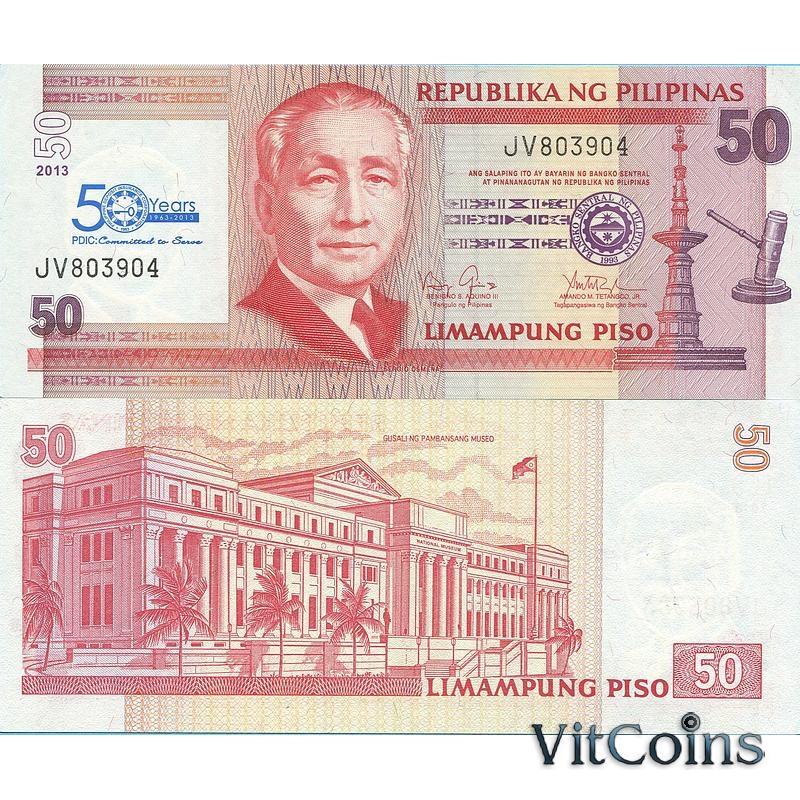 Банкнота Филиппины 50 песо 2013 год. 50 лет PDIC
