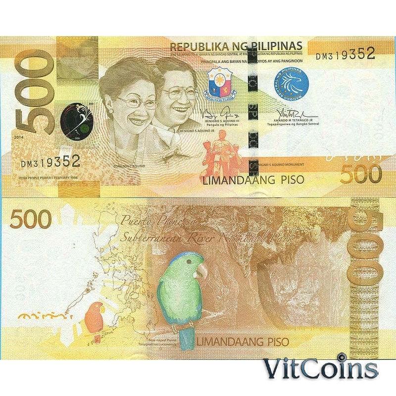 Банкнота Филиппины 500 песо 2014 год.