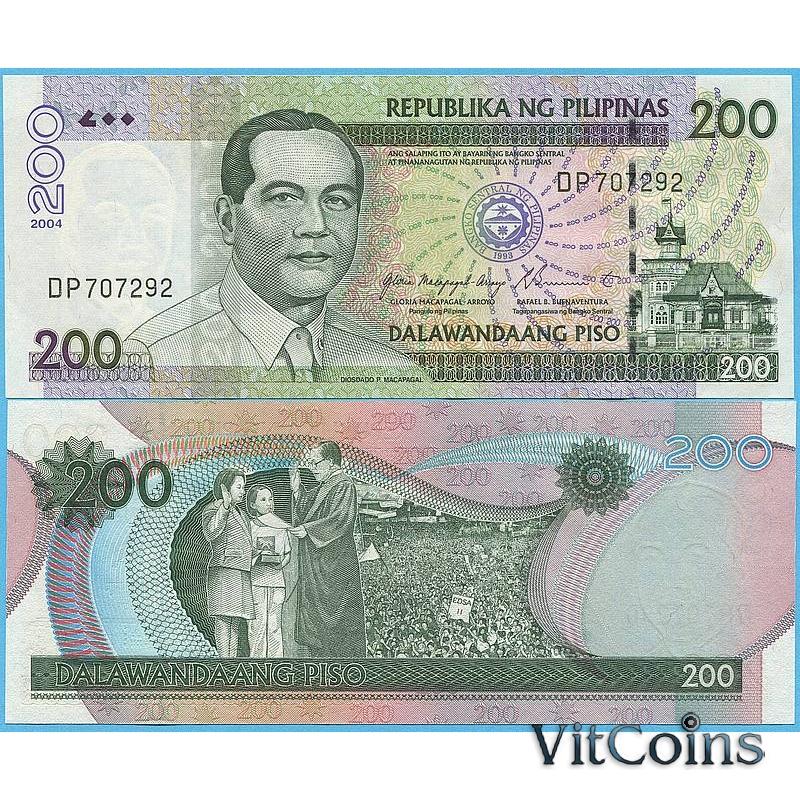 Банкнота Филиппины 200 песо 2004 год.