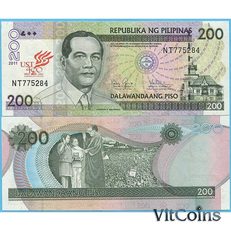 Банкнота Филиппины 200 песо 2011 год. 400 лет университету Санто-Томас в  Маниле.