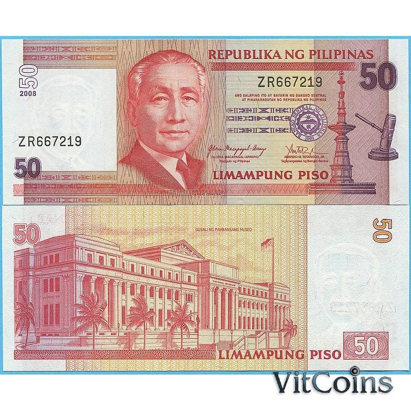 Банкнота Филиппины 50 песо 2008 год.