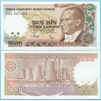 Турция 5000 лир 1990 год.