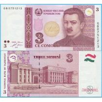 Таджикистан 3 сомони 2010 год.