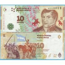 Аргентина 10 песо 2016 год.
