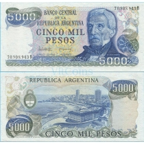Аргентина 5000 песо 1982 год.