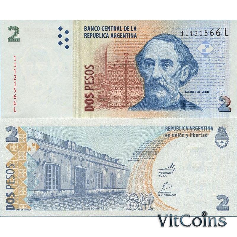 Банкнота Аргентина 2 песо 2002 год.