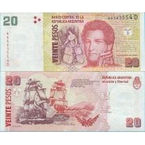 Аргентина 20 песо 2014 год.