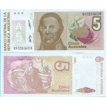 Аргентина 5 аустралей 1989 год.